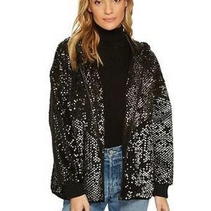 BLANKNYC Silver Studded Sequin Hoodie Bomber  NWT